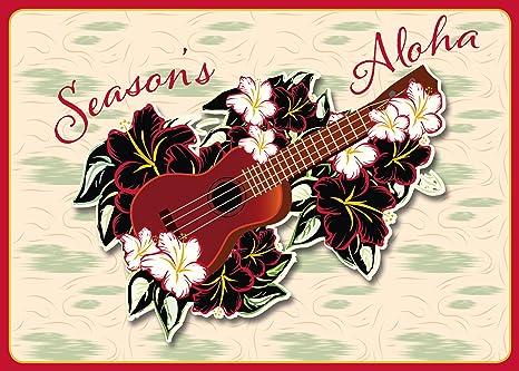 holiday ukulele set of 12 hawaiian christmas cards - Hawaiian Christmas Cards