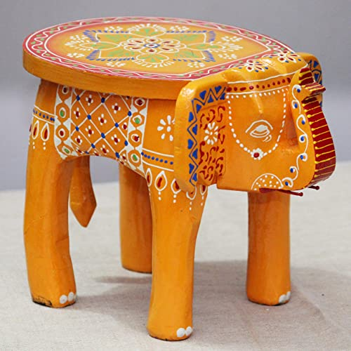 JH Gallery Handcrafted and Hand-Painted Colorful Wooden Elephant Stool