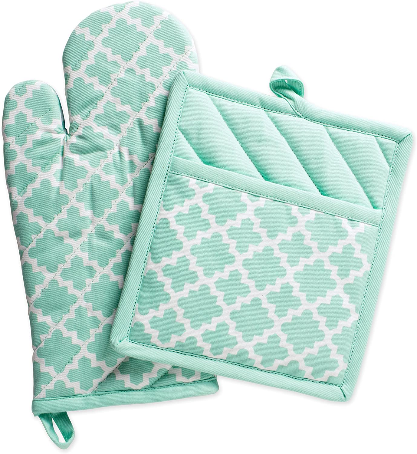 """DII Cotton Lattice Oven Mitt 13 x 7"""" andPot Holder 9 x 8"""" Kitchen Gift Set, Machine Washable and Heat Resistant for Cooking & Baking-Aqua"""