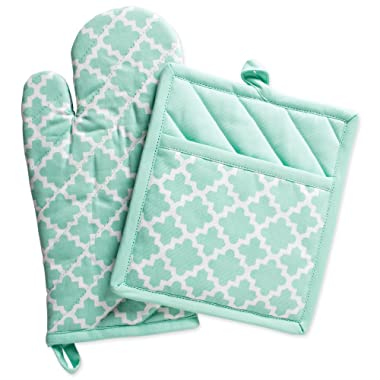 DII Cotton Lattice Oven Mitt 13 x 7  and  Pot Holder 9 x 8  Kitchen Gift Set, Machine Washable and Heat Resistant for Cooking & Baking-Aqua