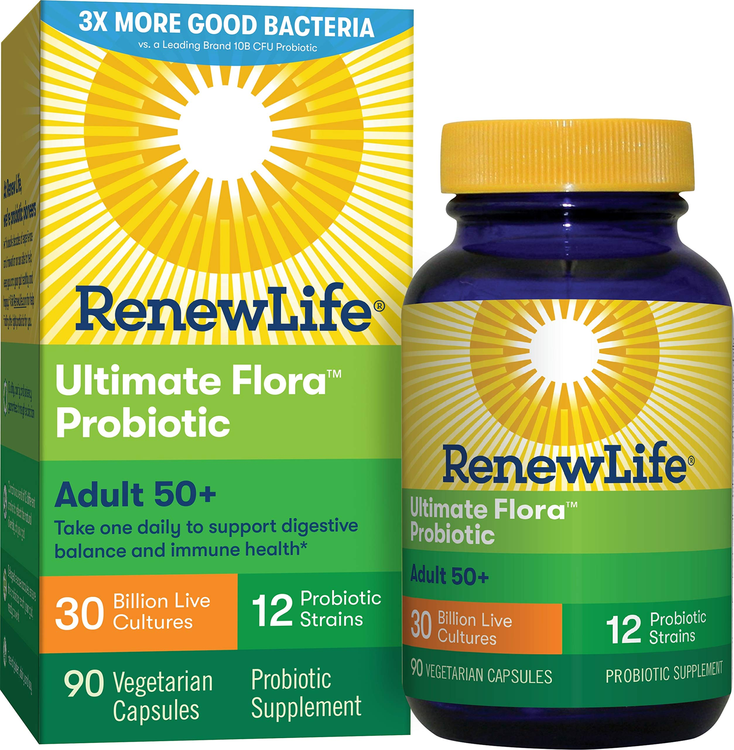 Renew Life Adult Probiotic - Ultimate Flora Adult 50+ Probiotic Supplement - Gluten, Dairy & Soy Free - 30 Billion CFU - 90 Vegetarian Capsules by Renew Life