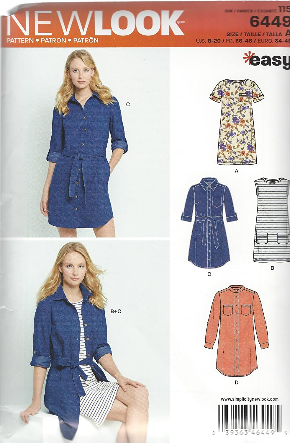 New Look Patterns Misses' Easy Shirt Dress and Knit Dress A (8-10-12-14-16-18-20) 6449