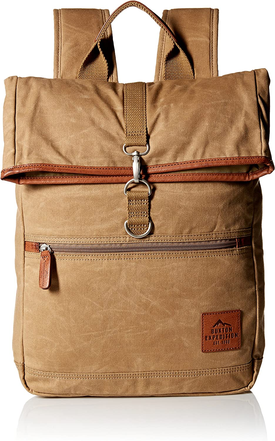 Buxton Men's Expedition Ii Huntington Gear Fold-Over Canvas Backpack, Tan, One Size