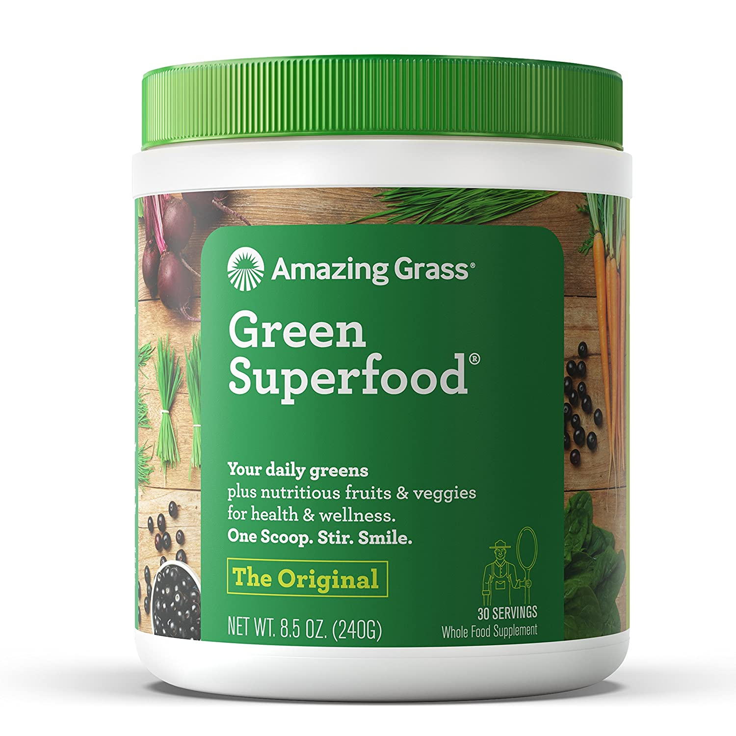 Amazing Grass Green Superfood Organic Wheat Grass and 7 Super Greens Powder, 2 servings of Fruits Veggies per scoop, Original Flavor, 30 Servings