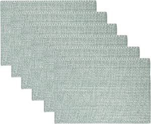"Sweet Home Collection Trends Two Tone 100% Cotton Woven Placemat, 10""x19"", Pale Green, P-MAT-050-PGR-SBL-6PK"
