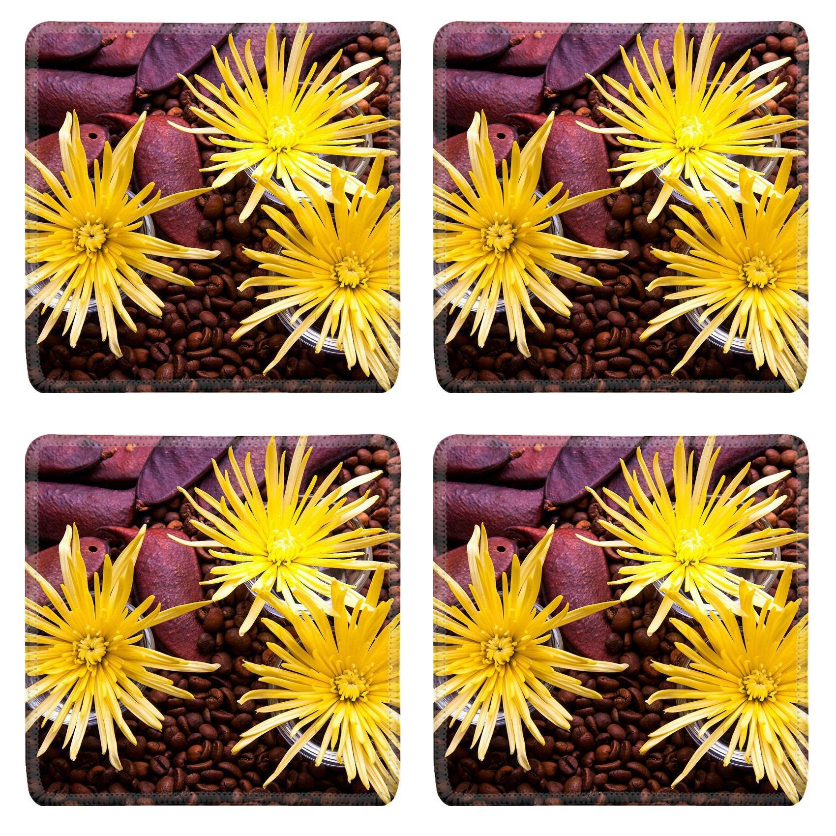 MSD Square Coasters Non-Slip Natural Rubber Desk Coasters design 21393043 Spider Chrysanthemum Flower Arrangement for beauty treatment in spa