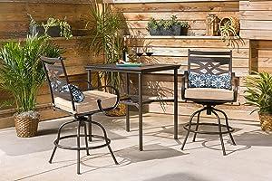 Hanover MCLRDN3PCBRSW2-TAN Montclair 3-Piece High-Dining Table Set, Tan Outdoor Furniture