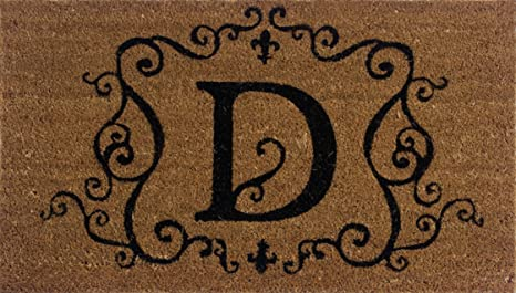Evergreen 2RM004 Monogram Door Mat, Coir Insert, Letter D, 16 Inches X