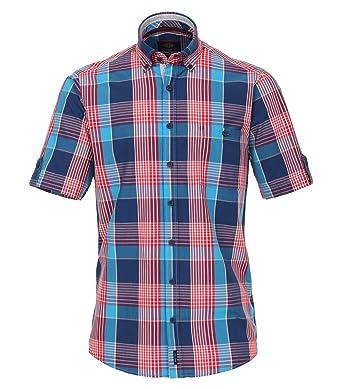 0e958fc20c Casa Moda - Casual Fit - Herren Freizeit 1/2-Arm-Hemd in Blau/Rot mit Button -Down-Kragen (982974500): Amazon.de: Bekleidung