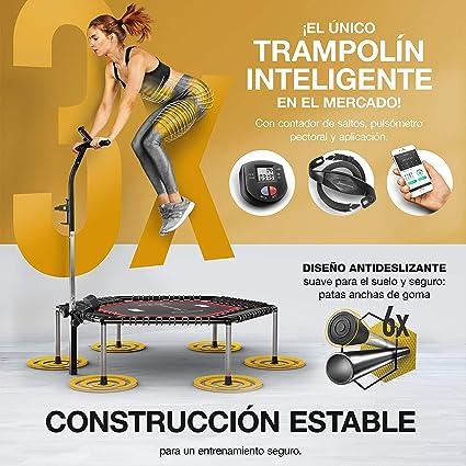 Sportstech Trampolín Fitness HTX100, Compatible con apps, Soporte Smartphone y Botella de Agua, Cama elástica Fitness Plegable, Manillar Ajustable ...