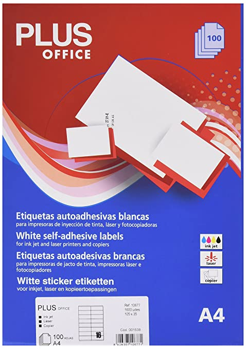 Amazon.com : Plus Office 10677 Self-Adhesive Labels with ...