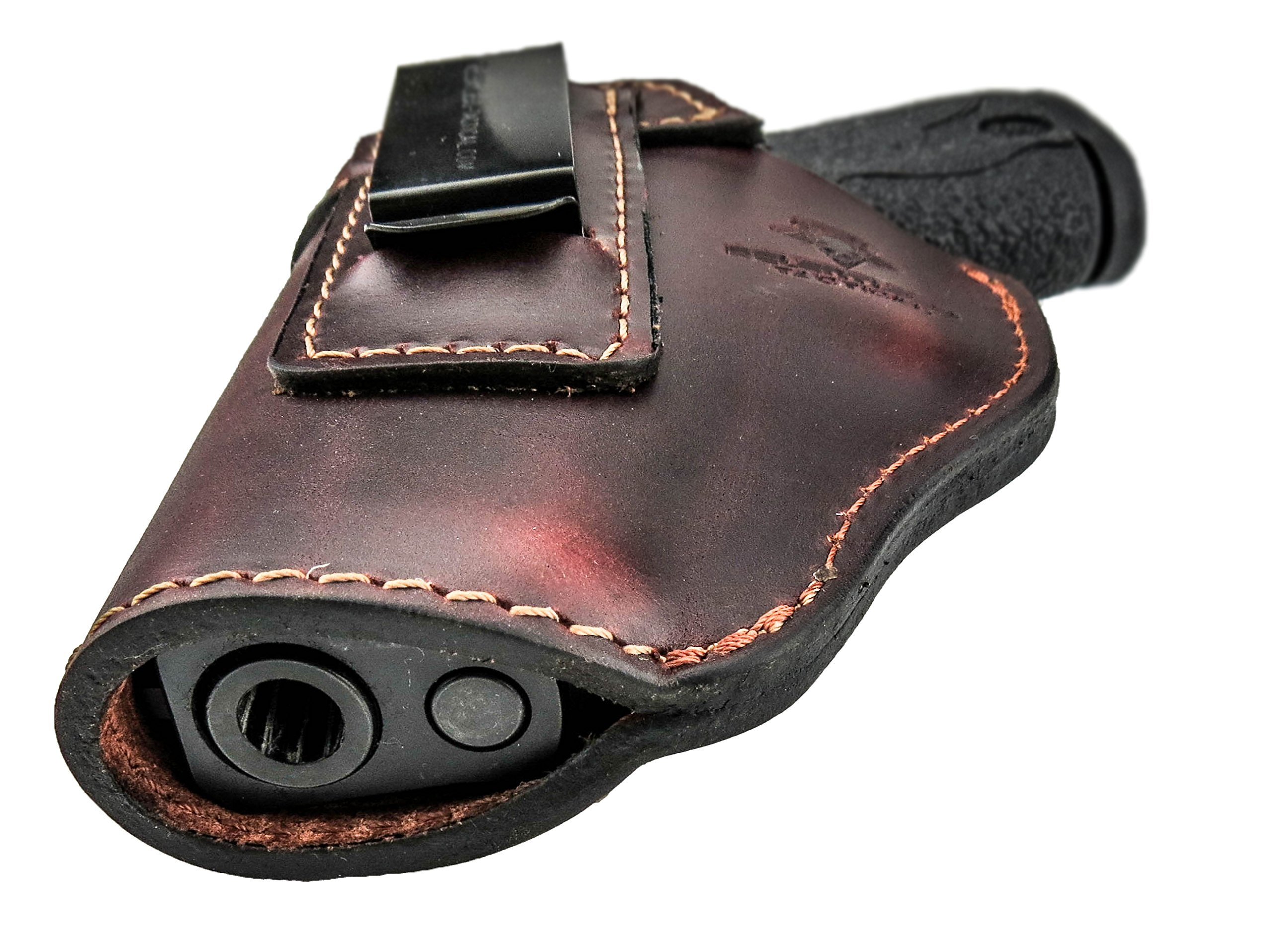 Relentless Tactical The Defender Leather IWB Holster - Made in USA - for S&W M&P Shield - Glock 17 19 22 23 32 33 / Springfield XD & XDS/Plus All Similar Sized Handguns – Brown – Left Handed by Relentless Tactical (Image #5)