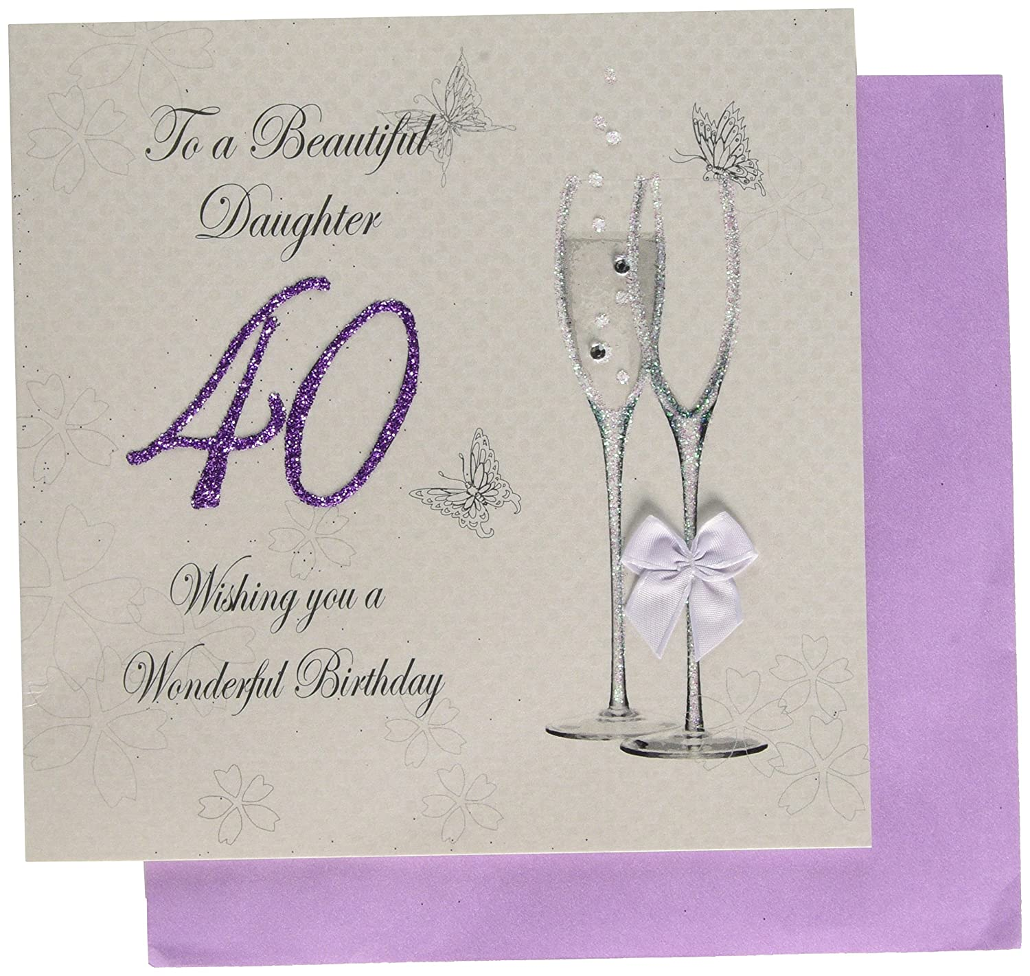 WHITE COTTON CARDS To A Beautiful Daughter 40 Wishing You Wonderful Handmade 40th Birthday Card Code BD10 Amazoncouk Kitchen Home