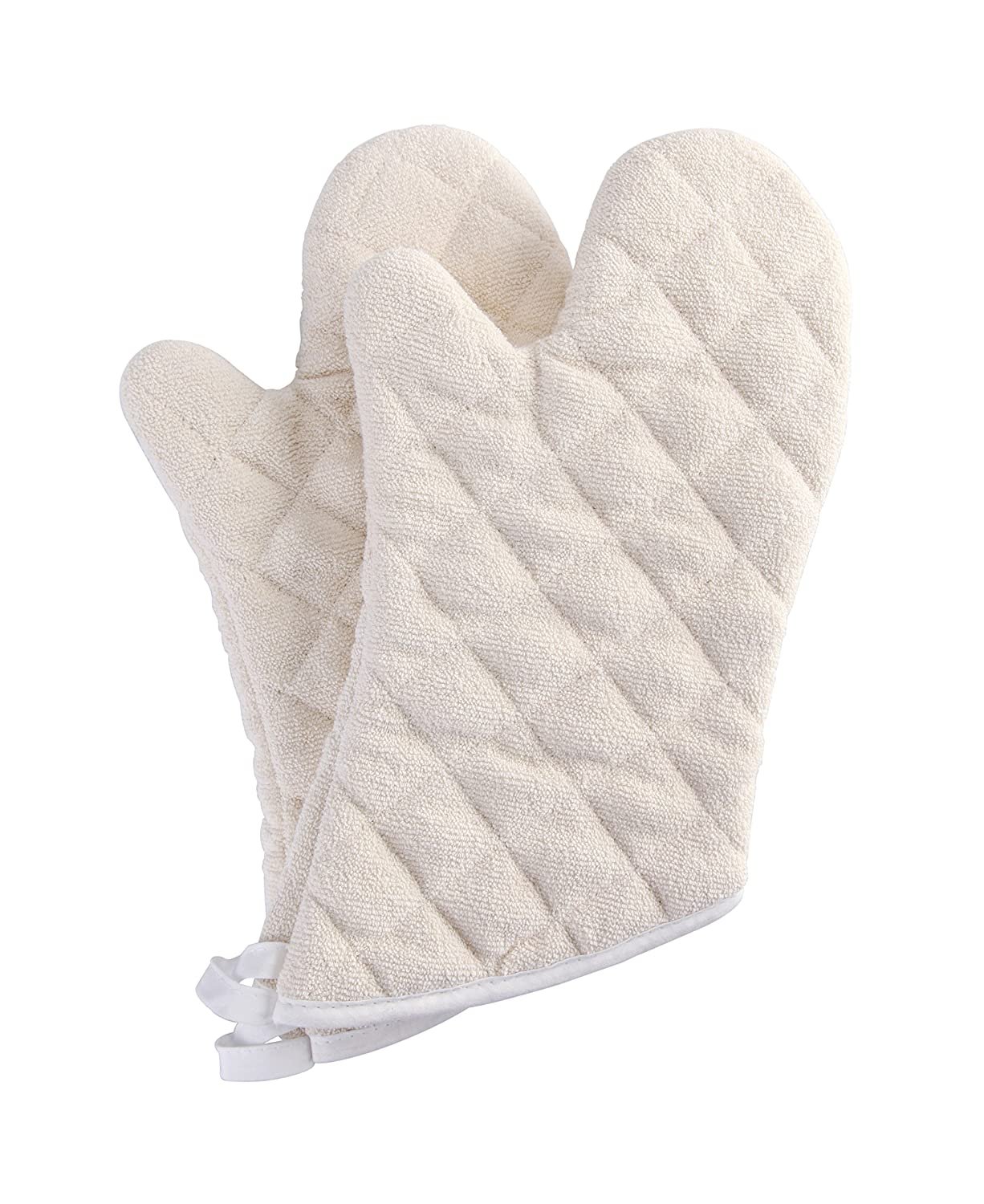 Terry Cloth Oven Mitts Heat Resistant to 482° F 15 Inch 100% Cotton Set of 2