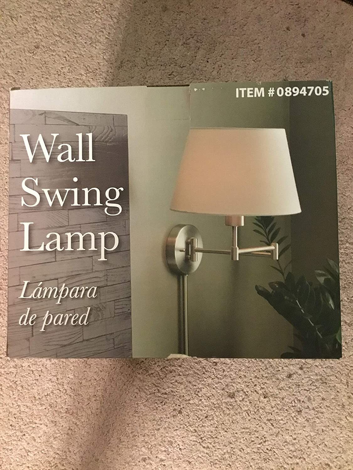 Wall Sconce in Brushed Steel 11 Wide Swing Arm Plug-in reading light
