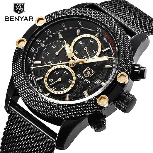 8dec71470889 Deporte Moda Hombres Relojes de la correa de banda de acero inoxidable de  malla star-