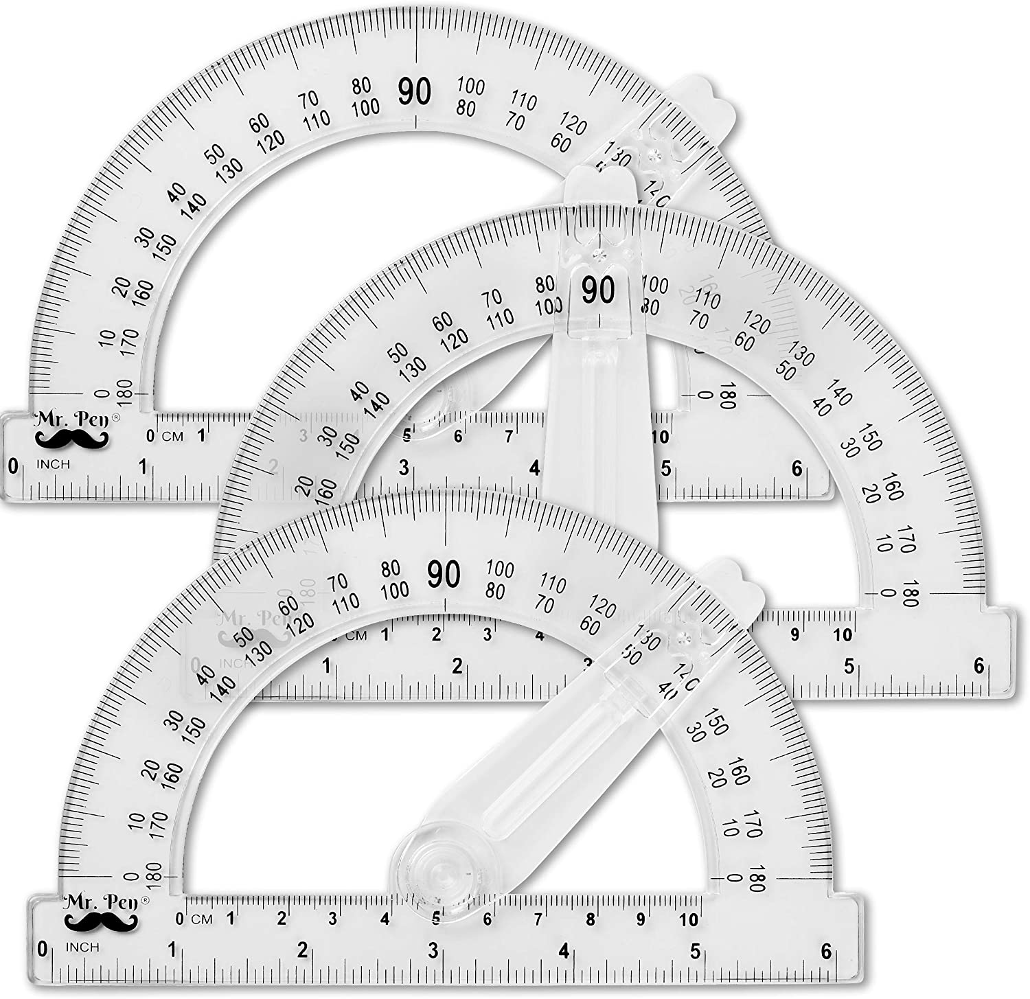 Mr. Pen Protractor, 6 Inches Protractor with Swing Arm, Pack of 3 : Office Products