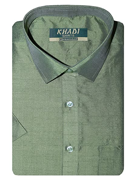1ed414c998e2d PRAKASAM COTTON Men s Silk Half Sleeve Shirt (Green