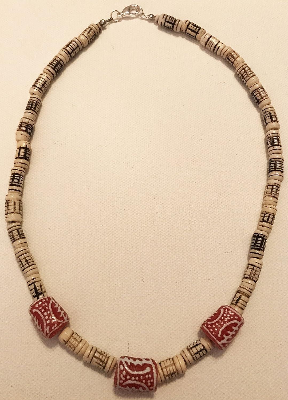Amazon Com Bone And Ghana Bead Necklace Handmade