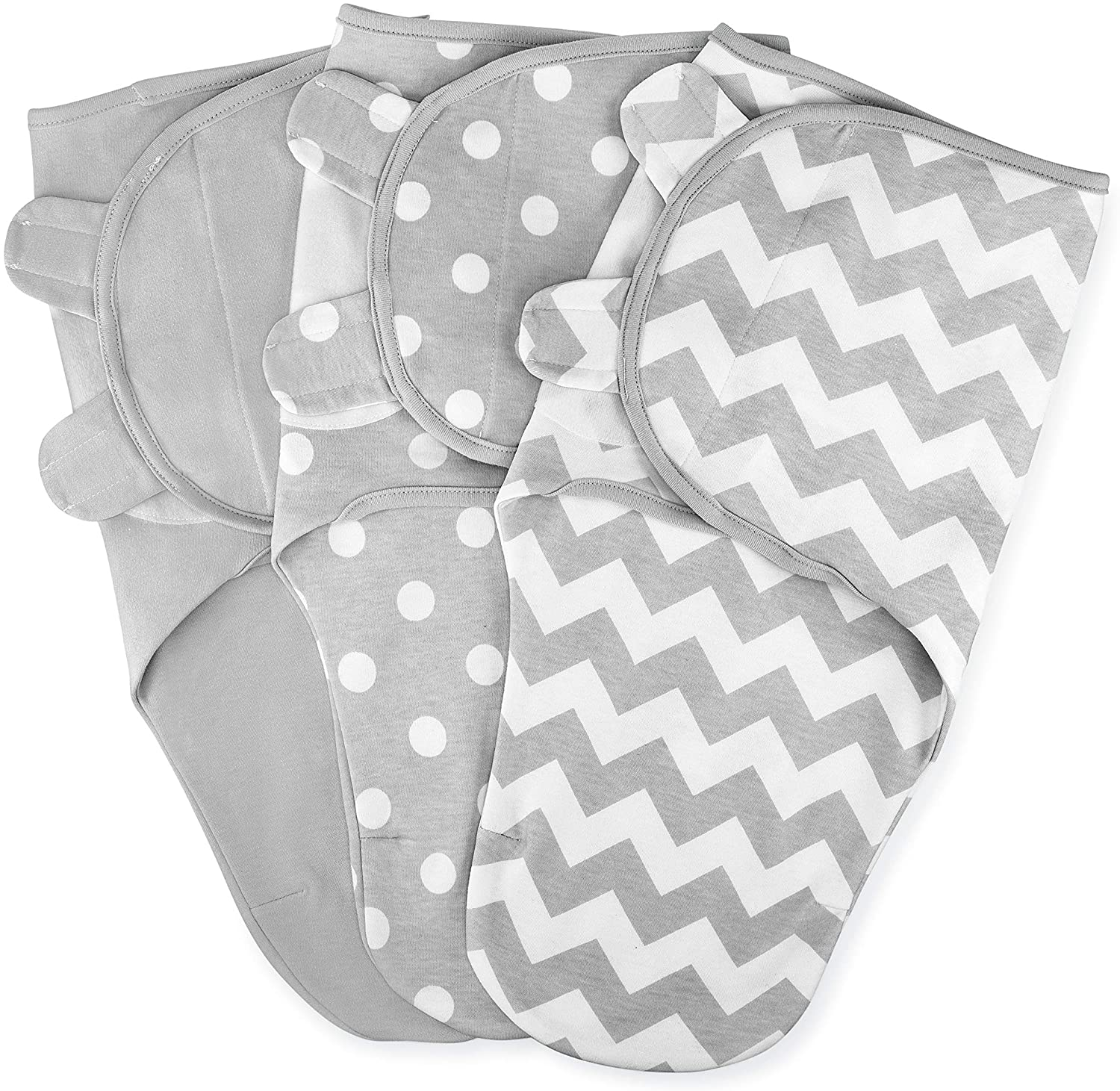 Swaddle Blanket Baby Girl Boy Easy Adjustable 3 Pack Infant Sleep Sack Wrap Newborn Babies by Comfy Cubs 0-3 Months Old (Grey, Small-Medium) (Small-Medium): Home & Kitchen