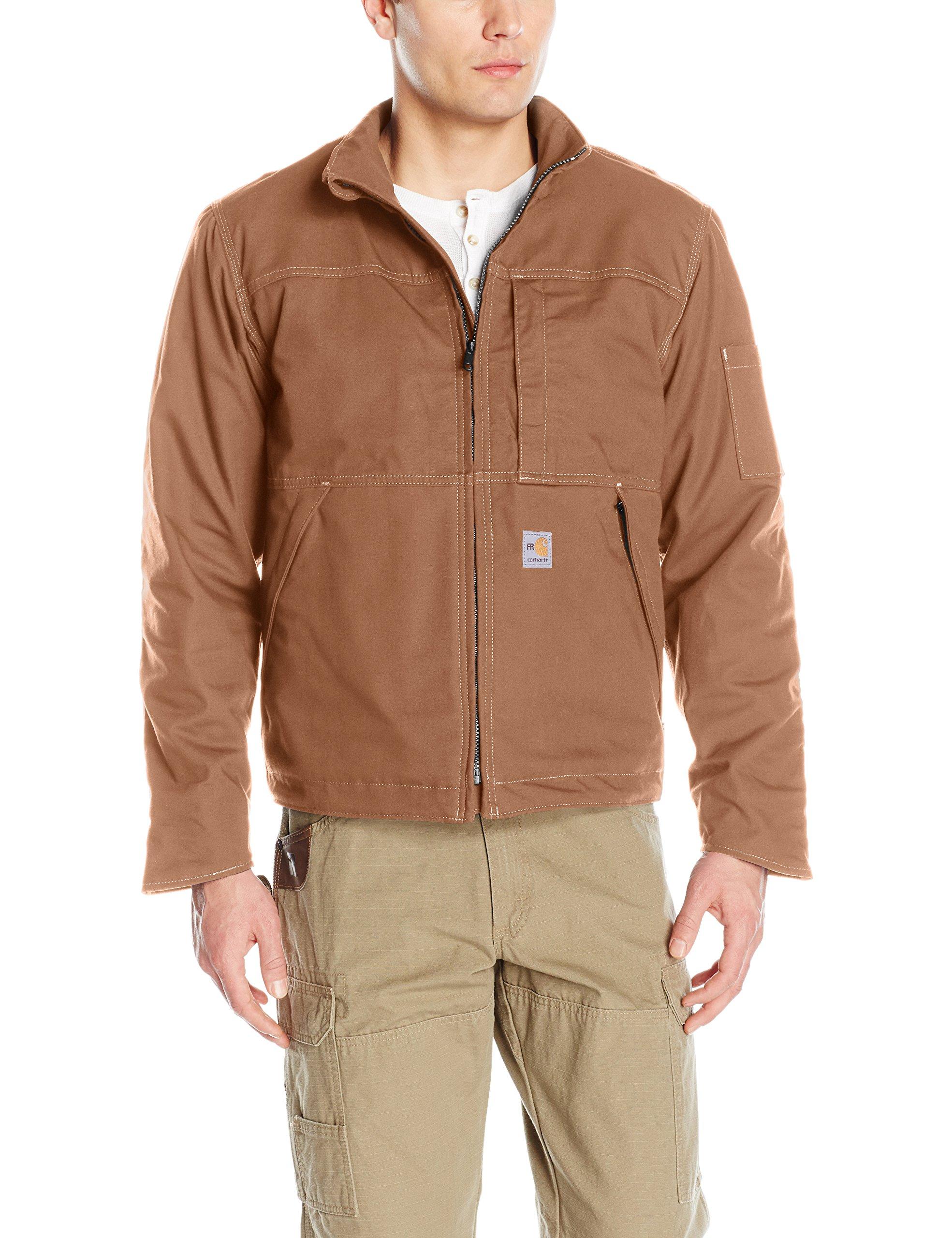 Carhartt Men's Flame Resistant Full Swing Quick Duck Jacket, Brown, Medium