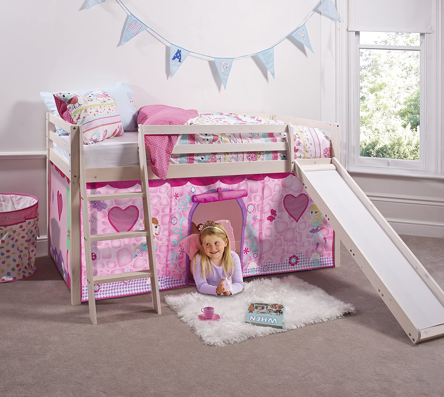 Cabin Bed Mid Sleeper in Whitewash with Fairy Tent (66-WW-FAIRIES) Noa & Nani