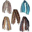 Multicolored Fashionable Handmade Silk Scarfs , 5pcs Mix Style Silk Scarfs One Size, Assorted
