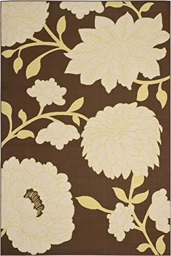 Safavieh Hampton Collection HAM552AB Brown and Ivory Indoor Outdoor Area Rug 6 7 x 9 6