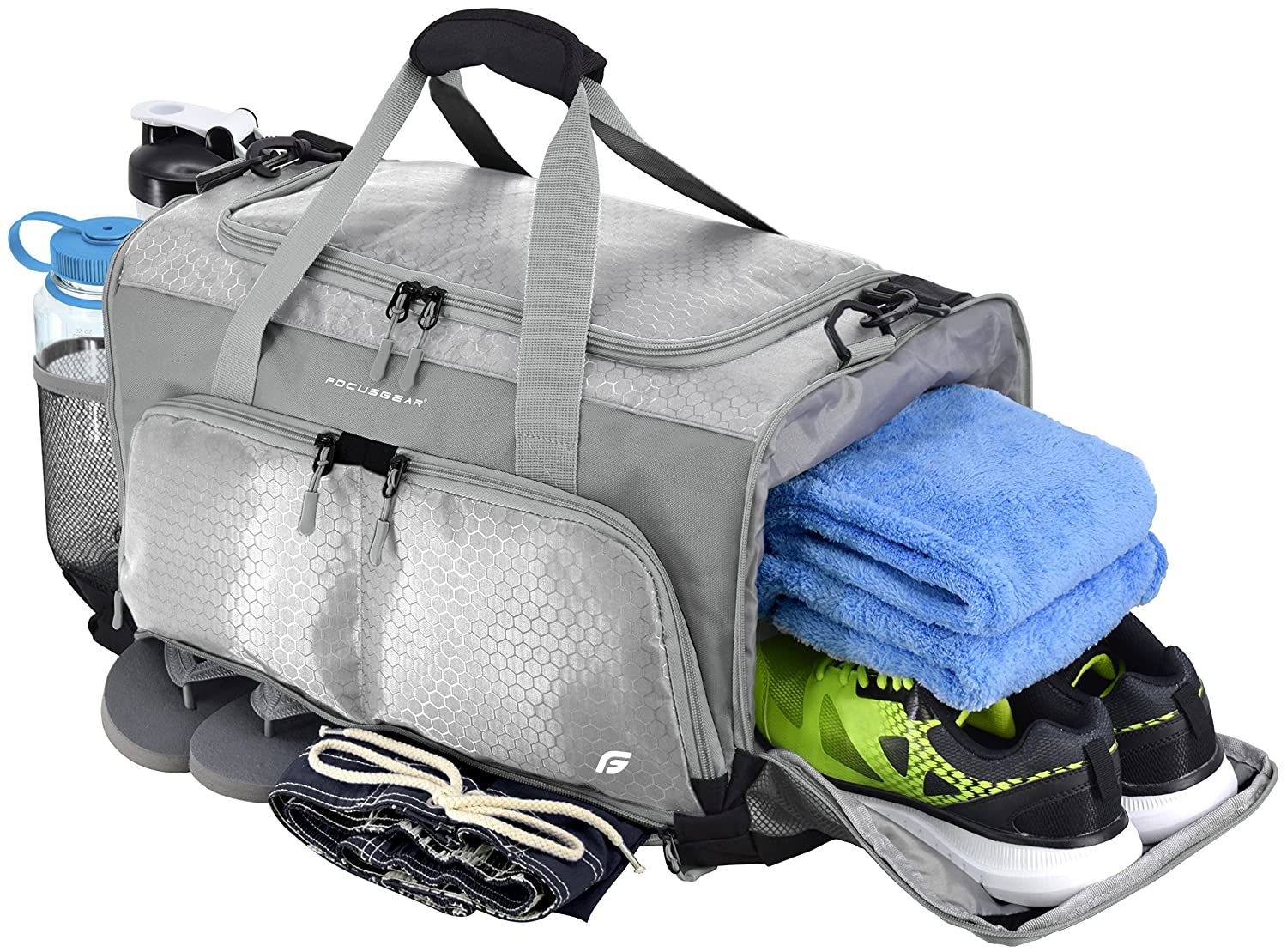 "Amazon.com  FocusGear Ultimate Gym Bag  The Crowdsource Designed 20"" Duffel   Sports   Outdoors d13314d80bbe5"