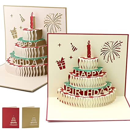 Amazon Athoinsu Happy Birthday Pop Up Card Sets Cake Greeting