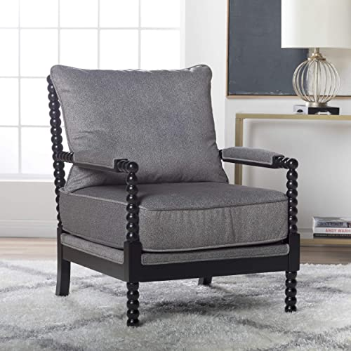 Studio Designs Home Colonnade Spindle Black Wood Frame Accent Chair in Dark Gunmetal Grey, Pewter