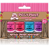 Piggy Paint - 100% Non-toxic Girls Nail Polish, Safe, Chemical Free, Low Odor for Kids - 4 Polish Gift Set