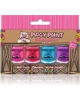 Piggy Paint - 100% Non-toxic Girls Nail Polish, Safe, Chemical Free, Low Odor for Kids - 4 Polish Gift Set