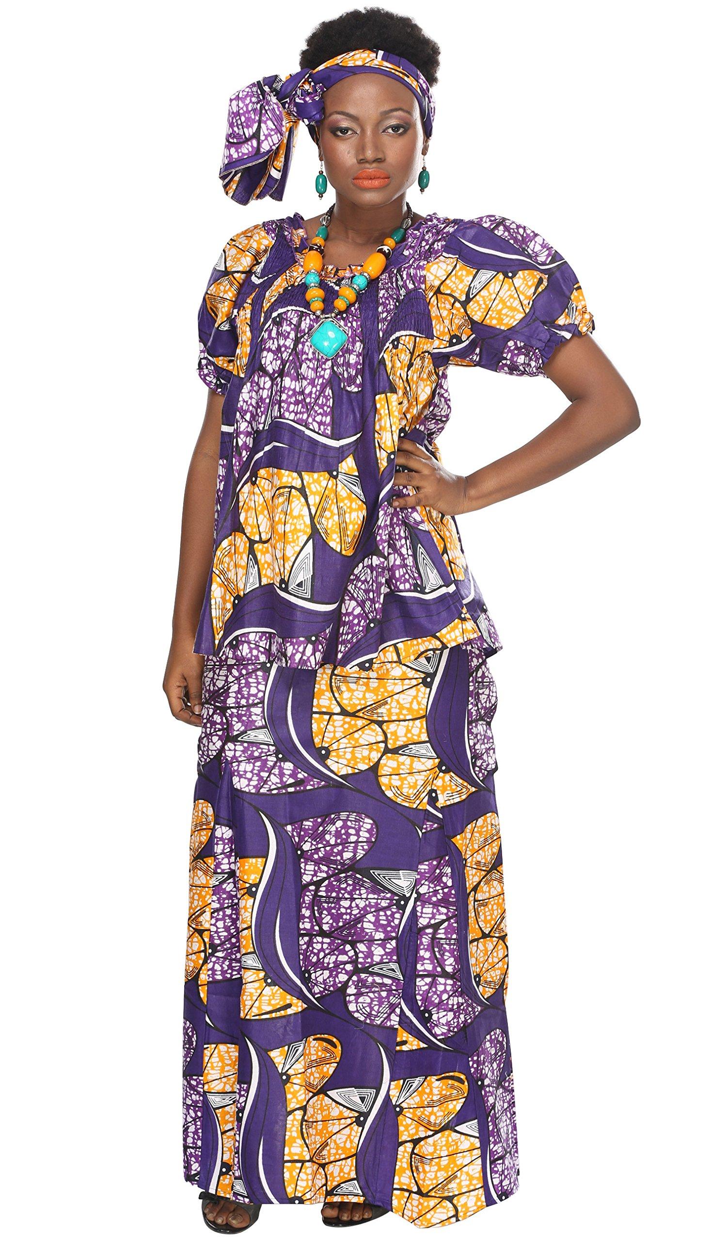 African Planet Women's Purple Wax 3 Piece Set Skirt Kenya Elastic Printed Waist Maxi