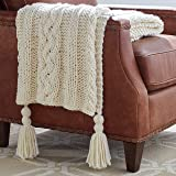 """Stone & Beam Cozy Cable Knit Chunky Weave Throw Blanket, 60"""" x 50"""", Cream"""