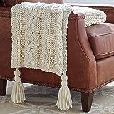 "Amazon Brand – Stone & Beam Cozy Cable Knit Chunky Weave Throw Blanket, 60"" x 50"", Cream"