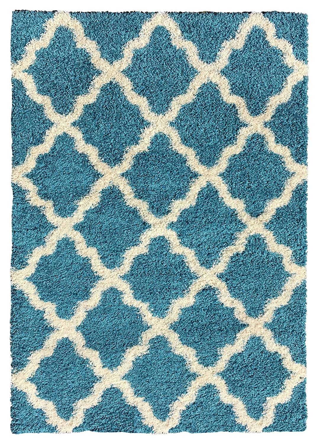 Amazon.com: Soft Shag Area Rug 5x7 Moroccan Trellis Turquoise Blue Shaggy  Rug   Contemporary Area Rugs For Living Room Bedroom Kitchen Decorative  Modern ...