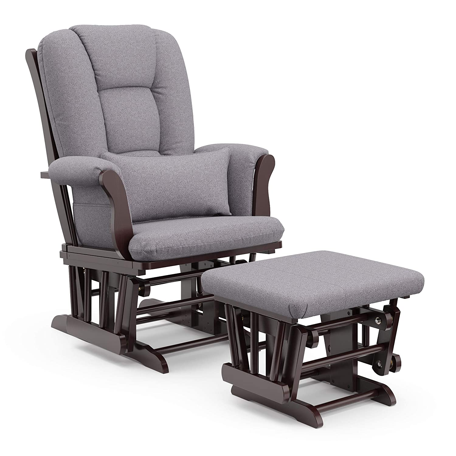 Storkcraft Tuscany Custom Glider and Ottoman with Free Lumbar Pillow, Espresso/Slate Gray Swirl