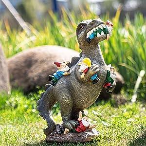 SOWSUN Garden Gnome Statues Outdoor Decor, Dinosaur Eating Gnomes Garden Art Outdoor for Fall Winter Garden Decor ,Outdoor Statue for Patio,Lawn ,Yard Art Decoration , Housewarming Garden Gift