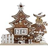 WeRChristmas Wooden Tree and Reindeer Advent Calendar Christmas Decoration, Wood, 18 cm - Multi-Colour