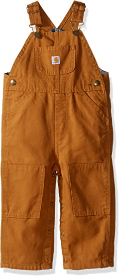 12 Months Brown Carhartt Baby Boys Canvas Overall Flannel Lined