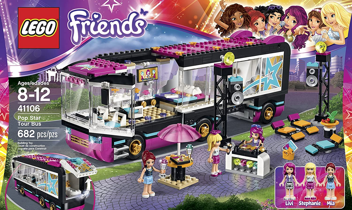 Amazon LEGO Friends 41106 Pop Star Tour Bus Building Kit Toys Games