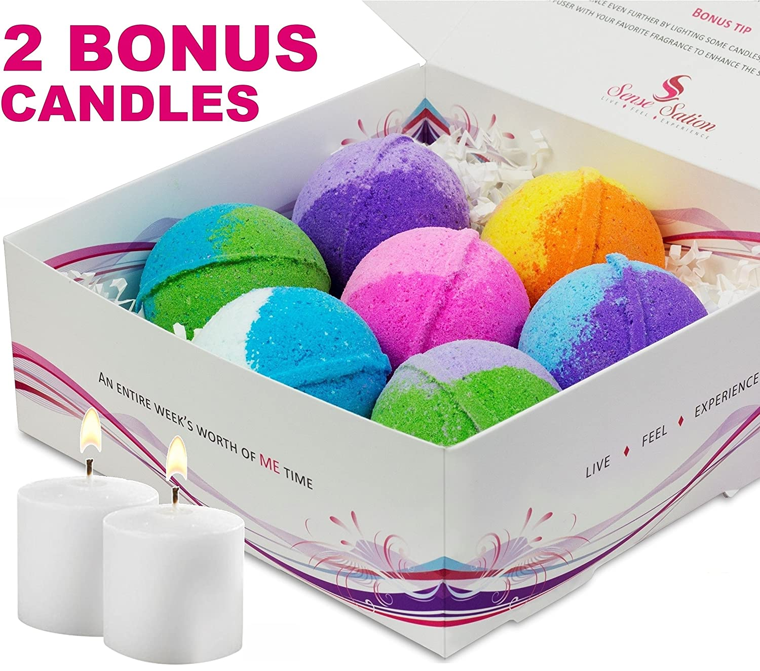 7 Luxurious Bath Bombs Gift Set (FREE BONUS of 2 Votive Candles). USA Handmade Ultra Lush Spa Bath Fizzies 4.5 oz. each, Organic Essential Oil, Fizzy & Colorful, Aromatherapy & Moisturizing, Vegan & Gluten Free Kit Sense Sation