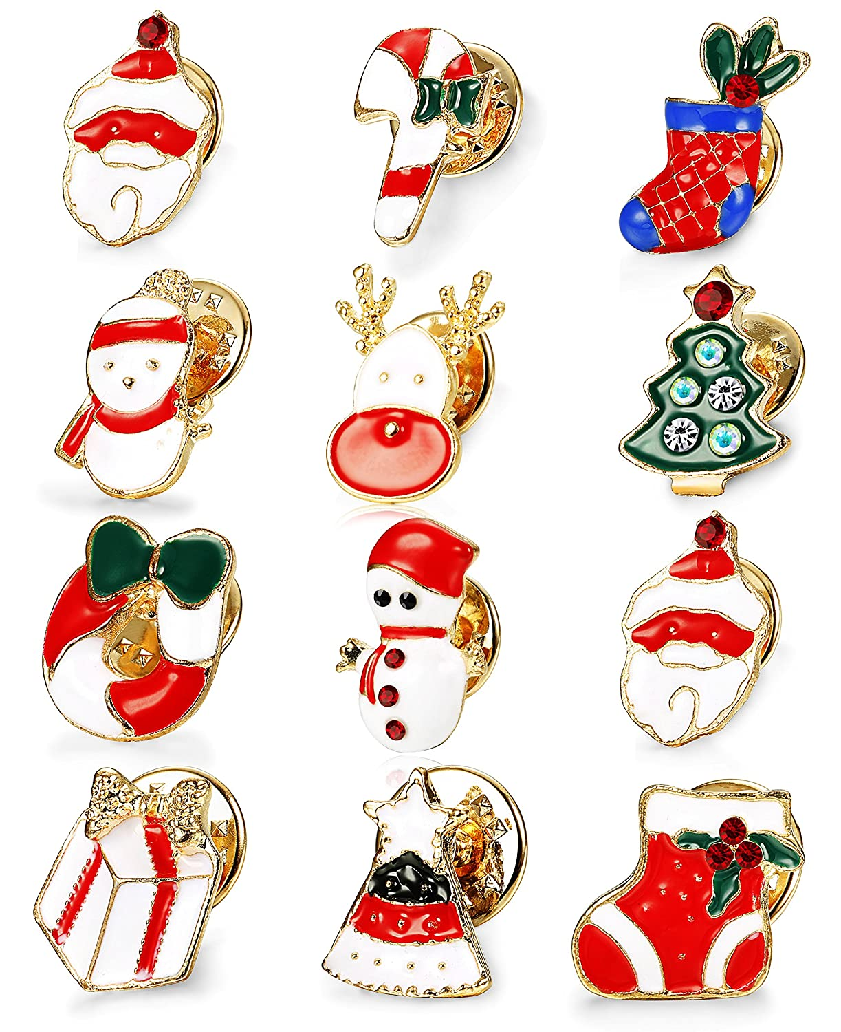 Thunaraz 12pcs Christmas Brooch Pin Set for Women Girls Holiday Brooches Chritmas Gifts B077D1HYFY_US