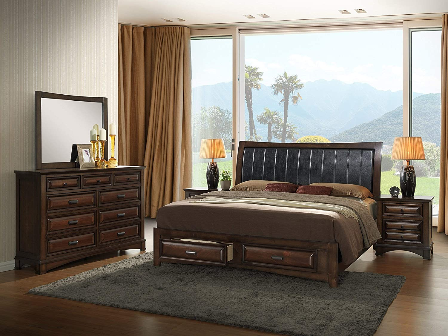 Broval Light Espresso Finish Queen Storage Bed, Dresser, Mirror, 2 Night Stands Wood Bed Room Set