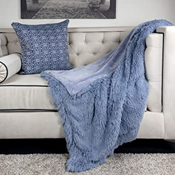 Homey Cozy Faux Fur and Flannel Baby Blue Throw Blanket, Super Soft Shaggy Fleece Fuzzy Lightweight Wool Plush Blanket for Sofa Couch Decorative Floor