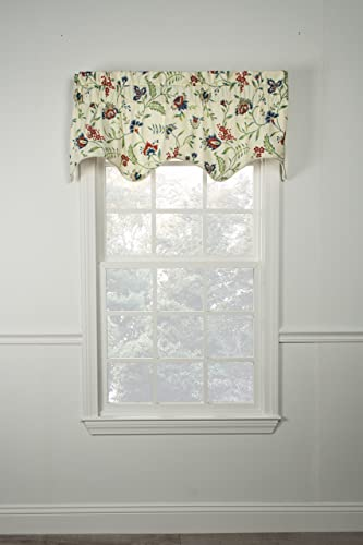 Ellis Curtain Carolina Crewel 50 x 15 Lined Scallop Valance, Multi