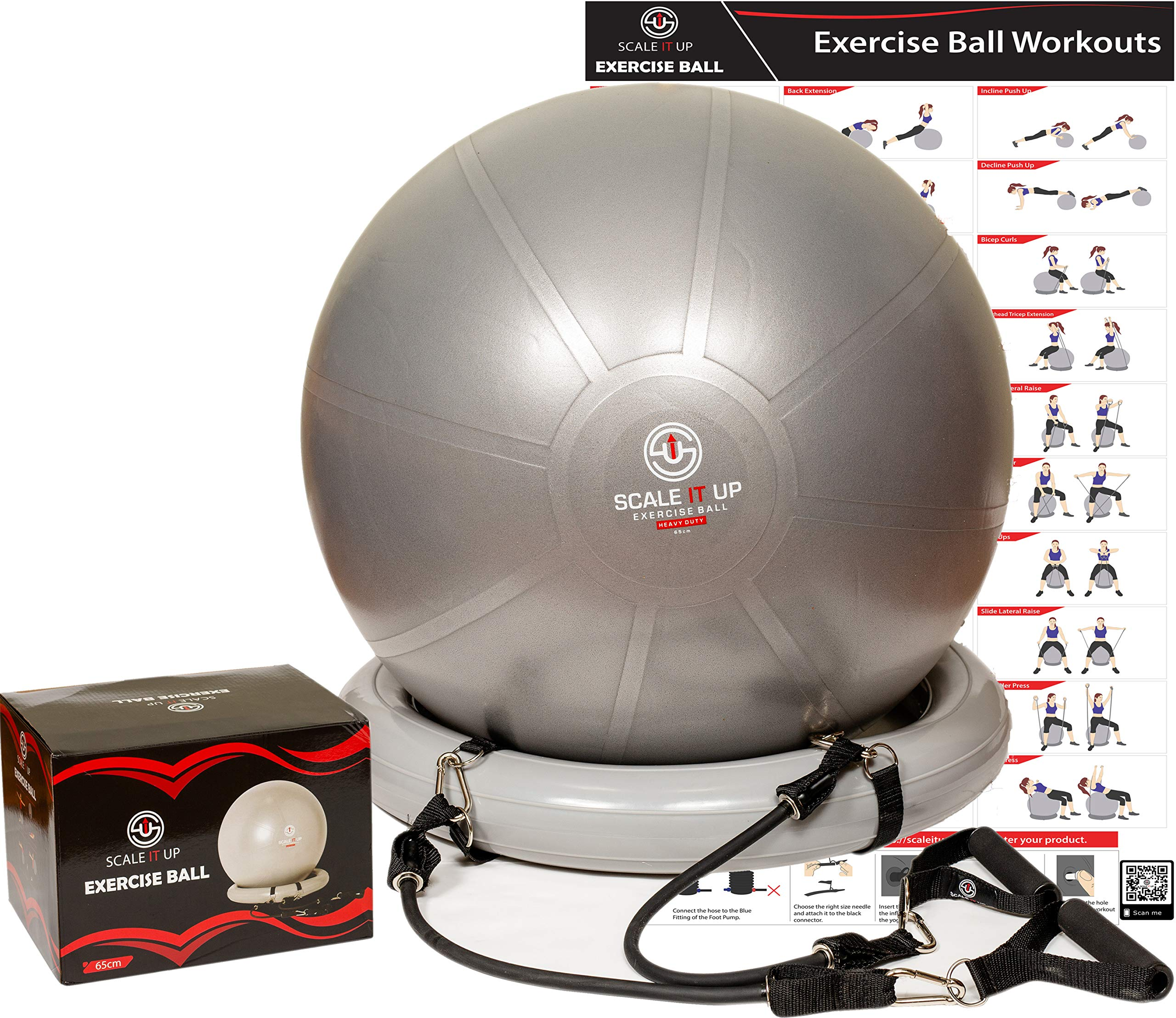 Scale It Up 65cm Exercise Ball Chair with 15LB Resistance Bands Set - Yoga Ball, Fitness Pilates Ball, Stability Ball with Base - Heavy Duty Anti-Slip and Anti-Burst Home Gym Bundle - Supports 600LBs
