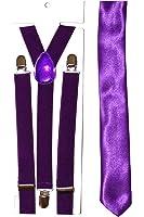Plain Tie & Adjustable Braces - neon (Purple)