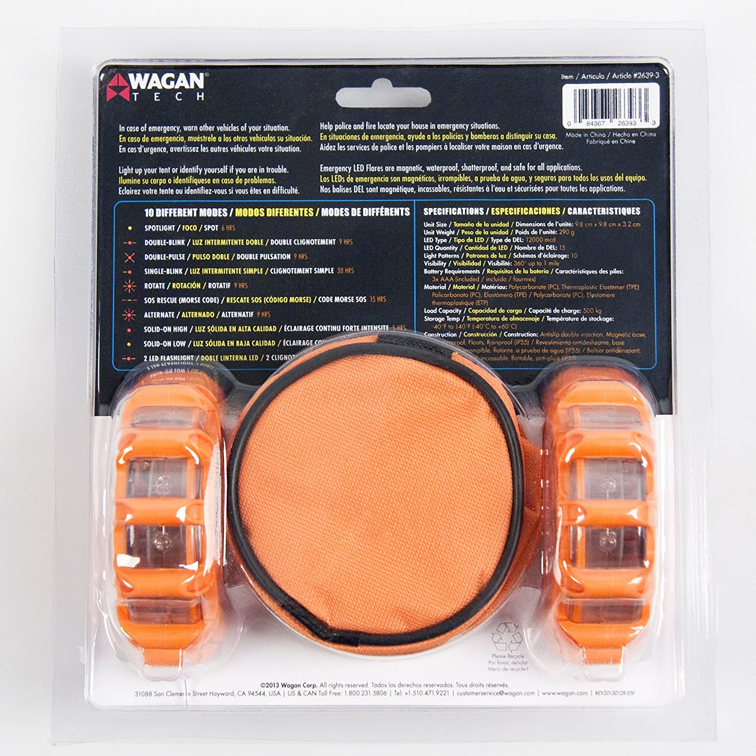 Wagan El2639 3 The Original Fred Flashing Roadside Power 220v Led Low Current Flasher Circuit Emergency Disc Flare Pack Of Tech Automotive